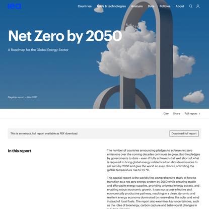 Net Zero by 2050 – Analysis - IEA