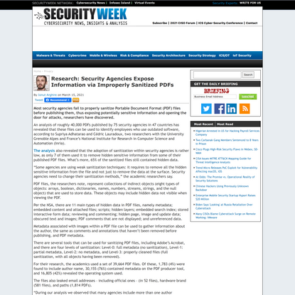 Research: Security Agencies Expose Information via Improperly Sanitized PDFs | SecurityWeek.Com