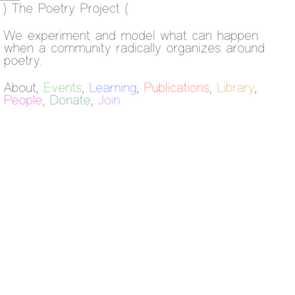 The Poetry Project > Hub