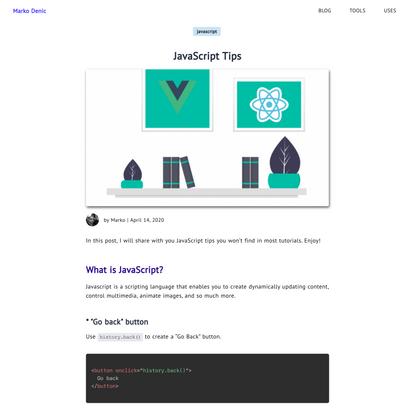 JavaScript Tips