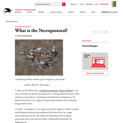What is the Necropastoral? by Joyelle McSweeney