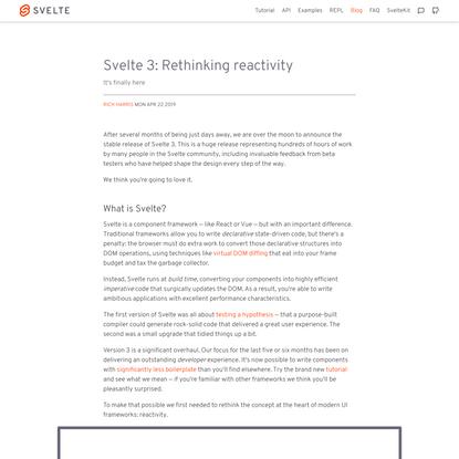 Svelte 3: Rethinking reactivity