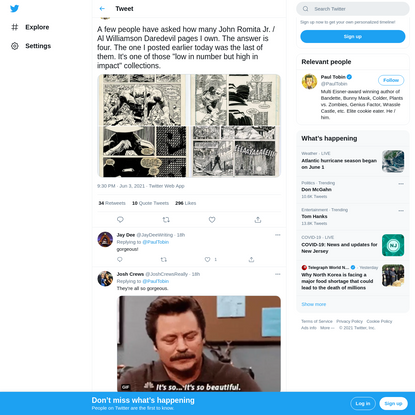 """Paul Tobin on Twitter: """"A few people have asked how many John Romita Jr. / Al Williamson Daredevil pages I own. The answer i..."""