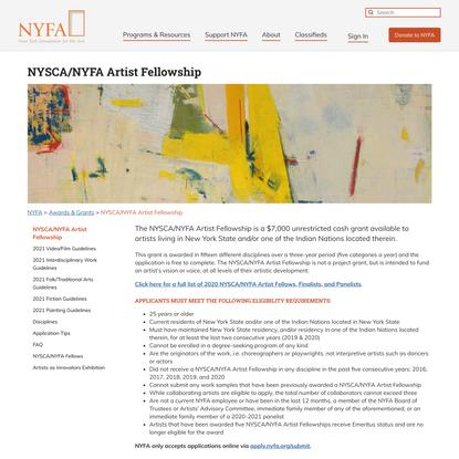 NYSCA/NYFA Artist Fellowship - NYFA