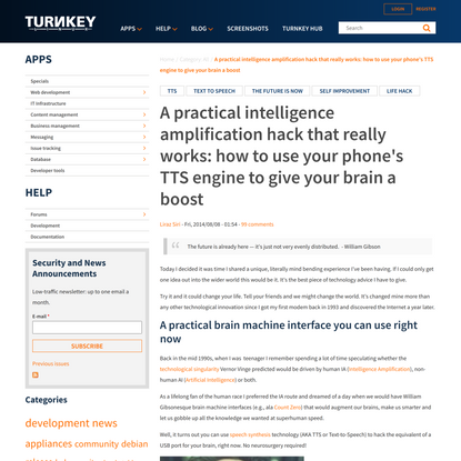 A practical intelligence amplification hack that really works: how to use your phone's TTS engine to give your brain a boost | TurnKey GNU/Linux