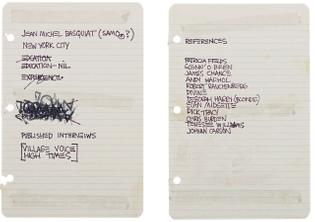 Jean-Michel Basquiat's resume, 1980