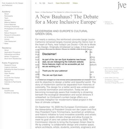 Het Nieuwe Bauhaus? Een pleidooi voor een inclusief Europa - Jan van Eyck Academie