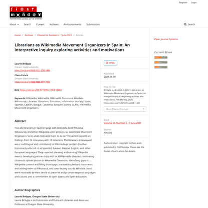 Librarians as Wikimedia Movement Organizers in Spain: An interpretive inquiry exploring activities and motivations | First M...