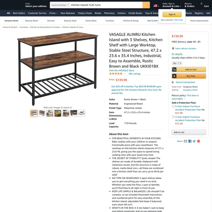 VASAGLE ALINRU Kitchen Island with 3 Shelves, Kitchen Shelf with Large Worktop, Stable Steel Structure, 47.2 x 23.6 x 35.4 I...