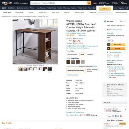 Walker Edison AZW48LNDLDW Drop Leaf Counter Height Table with Storage, 48″, Dark Walnut