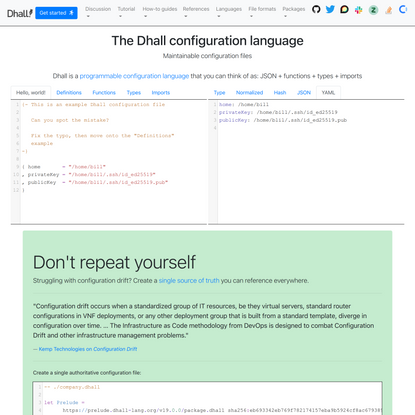 The Dhall configuration language