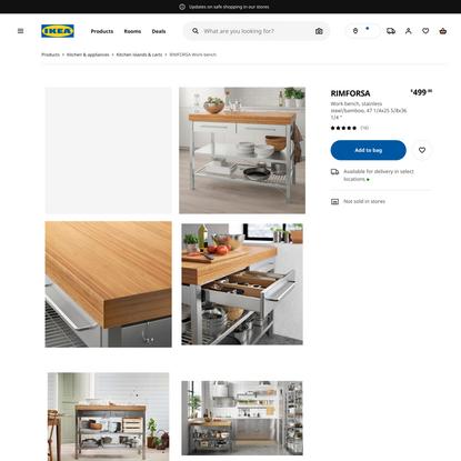 RIMFORSA Work bench, stainless steel, bamboo - IKEA