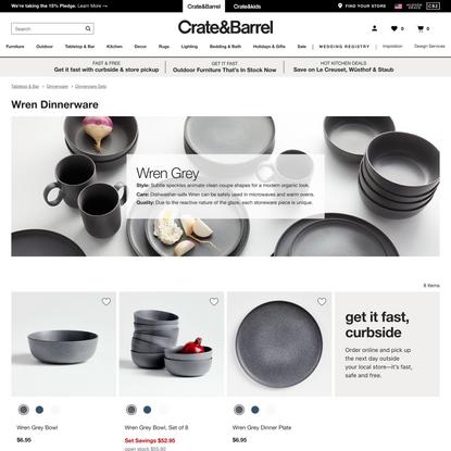 Wren Grey Dinnerware | Crate and Barrel