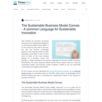 The Sustainable Business Model Canvas - A common Language for Sustainable Innovation