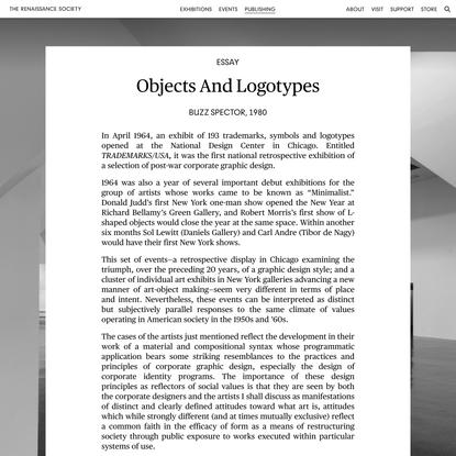 Objects and Logotypes | Publishing: Essay | The Renaissance Society