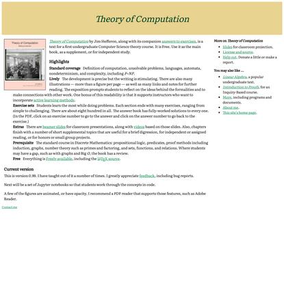 Free Theory of Computation text from Jim Hefferon