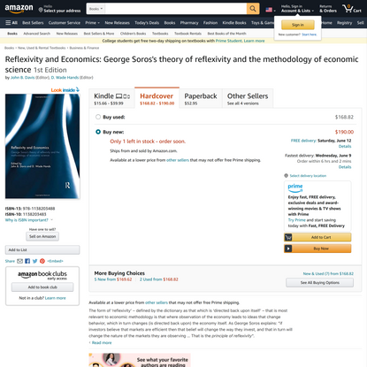 Reflexivity and Economics: George Soros's theory of reflexivity and the methodology of economic science