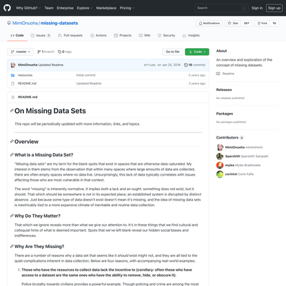 GitHub - MimiOnuoha/missing-datasets: An overview and exploration of the concept of missing datasets.