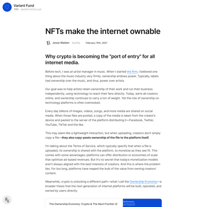 NFTs make the internet ownable — Mirror