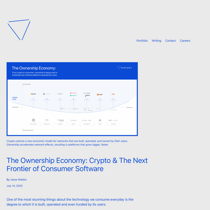 The Ownership Economy: Crypto & The Next Frontier of Consumer Software – Variant