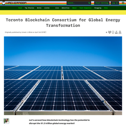 Toronto Blockchain Consortium for Global Energy Transformation | Hacker Noon