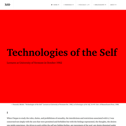 Technologies of the Self: Lectures at University of Vermont in October 1982