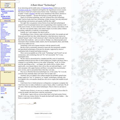 "Ursula K. Le Guin: A Rant About ""Technology"""