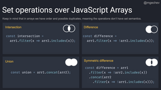 Set operations over JavaScript Arrays by @mgchev