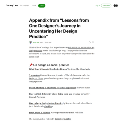 """Appendix from """"Lessons from One Designer's Journey in Uncentering Her Design Practice"""""""