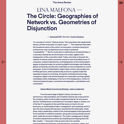 The Avery Review | The Circle: Geographies of Network vs. Geometries of Disjunction