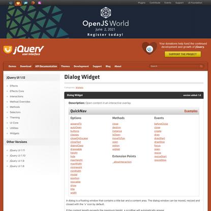 Dialog Widget | jQuery UI API Documentation