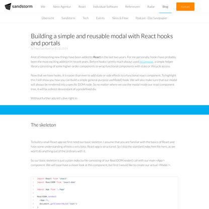 Building a simple and reusable modal with React hooks and portals