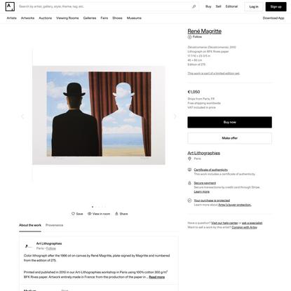 René Magritte   Décalcomanie (Decalcomania) (2010)   Available for Sale   Artsy
