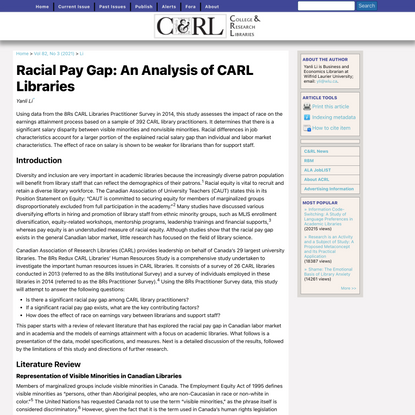 Racial Pay Gap: An Analysis of CARL Libraries | Li | College & Research Libraries