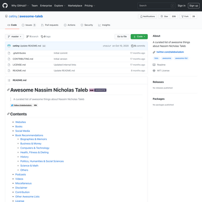 GitHub - cetiny/awesome-taleb: A curated list of awesome things about Nassim Nicholas Taleb