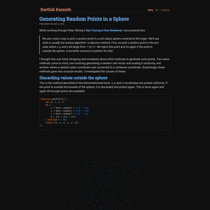Generating Random Points in a Sphere | Karthik Karanth
