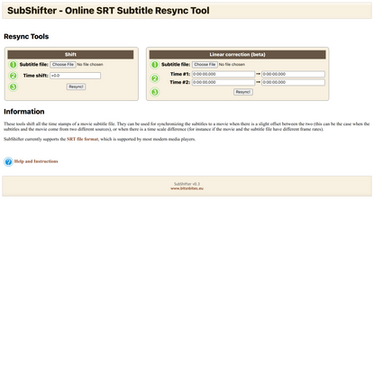 SubShifter - Online SRT Subtitle Resync Tool
