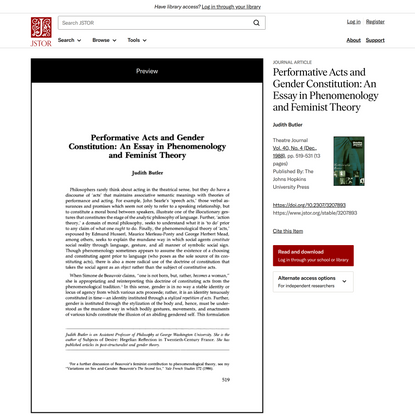 Performative Acts and Gender Constitution: An Essay in Phenomenology and Feminist Theory on JSTOR
