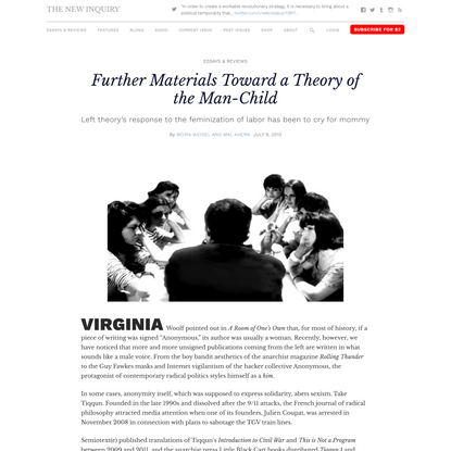 Further Materials Toward a Theory of the Man-Child