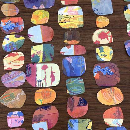 "Publicación de Instagram de Whitman Senior Art Majors: ""chopping up prints feels like giving myself the present of new sweet..."