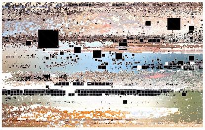 "Holger Lippmann Instagram मा: ""depth-matrix, 2019 #madewithcode #codeart #generative #landscape #pixelsorting"""