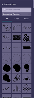 Start using the Shapes & Icon pannel is adobe