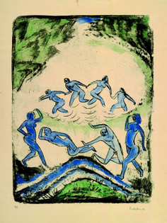 Der Tanz (Tanzende und Badende am Waldteich), 1912, Max Pechstein