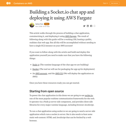 Building a Socket.io chat app and deploying it using AWS Fargate