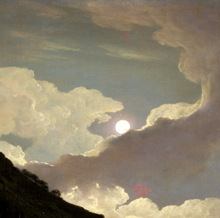 Detail: Matlock Tor by Moonlight, 1777-80, by Joseph Wright of Derby.