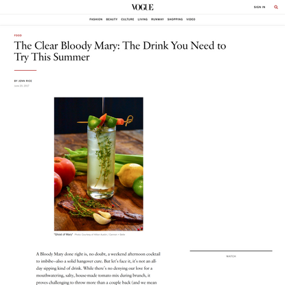 The Clear Bloody Mary: The Drink You Need to Try This Summer
