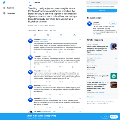 """Pinboard on Twitter: """"The thing I really enjoy about non-fungible tokens (NFTs) and """"smart contracts"""" more broadly is that t..."""