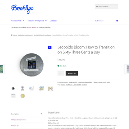 Leopoldo Bloom: How to Transition on Sixty-Three Cents a Day - Booklyn Shop