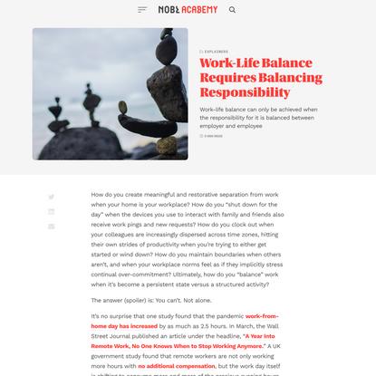 Work-Life Balance Requires Balancing Responsibility - NOBL Academy