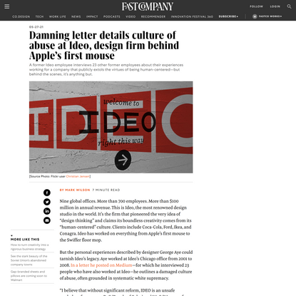 Damning letter details culture of abuse at Ideo, design firm behind Apple's first mouse